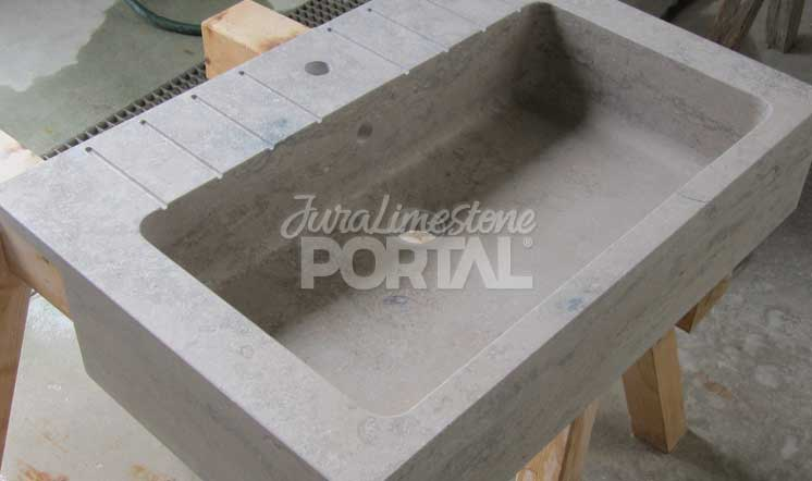Jura Grey limestone vein-cut basin